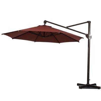 11 ft. Hanging Cantilever Umbrella with Cross Base and Umbrella Cover Offset Patio Umbrella in Dark Red