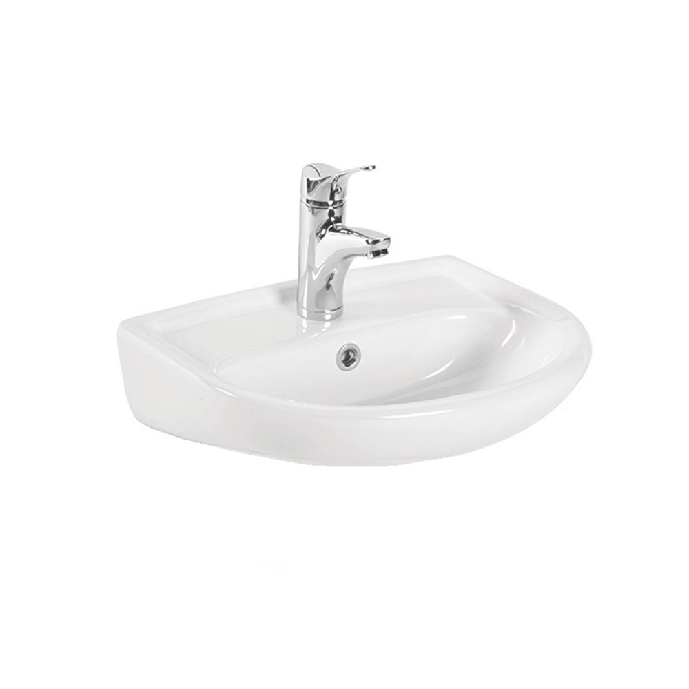 ws bath collections wall mount bathroom vessel sink in ceramic white-basic 4010 - the home depot