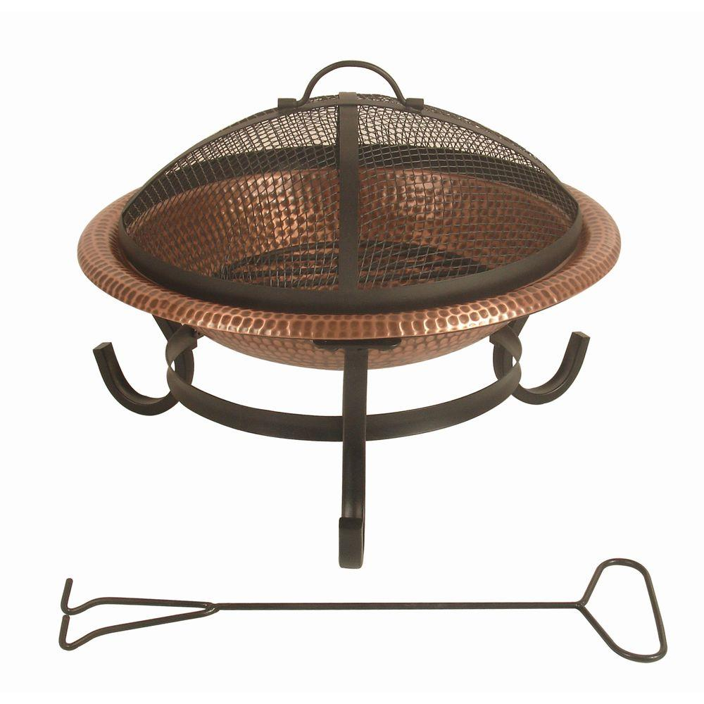 null 15 in. Round Hammered Copper Fire Pit