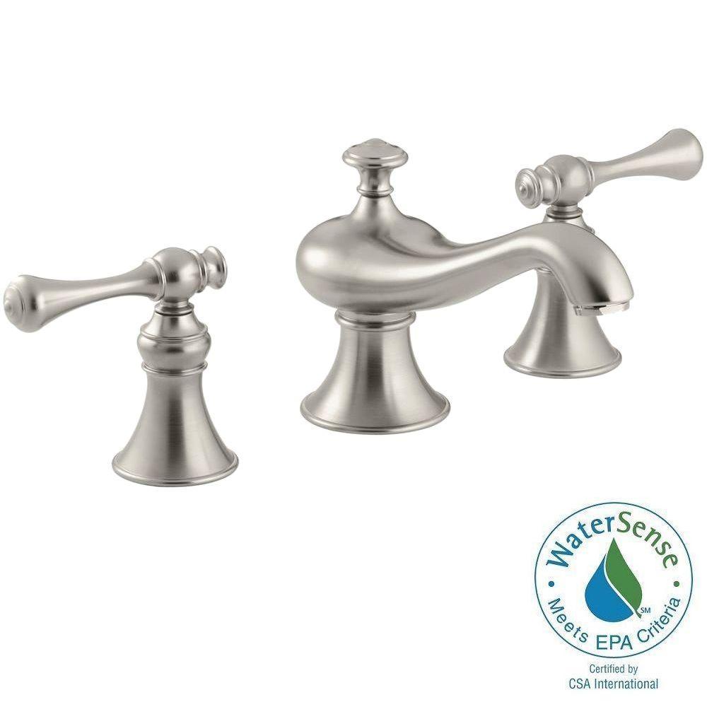 KOHLER Revival 8 in. Widespread 2-Handle Low-Arc Water-Saving Bathroom Faucet in Vibrant Brushed Nickel