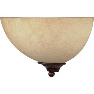 Glomar 1-Light Old Bronze Sconce with Tuscan Suede Glass Shade by Glomar