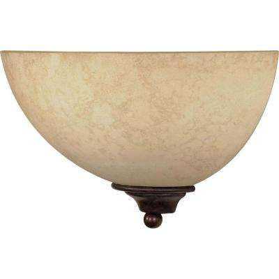 1-Light Old Bronze Sconce with Tuscan Suede Glass Shade