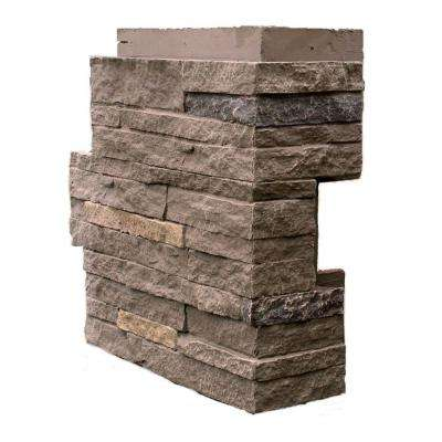 Stacked Stone Walnut Brown 4.25 in. x 13.75 in. Faux Stone Siding Corner (4-Pack)