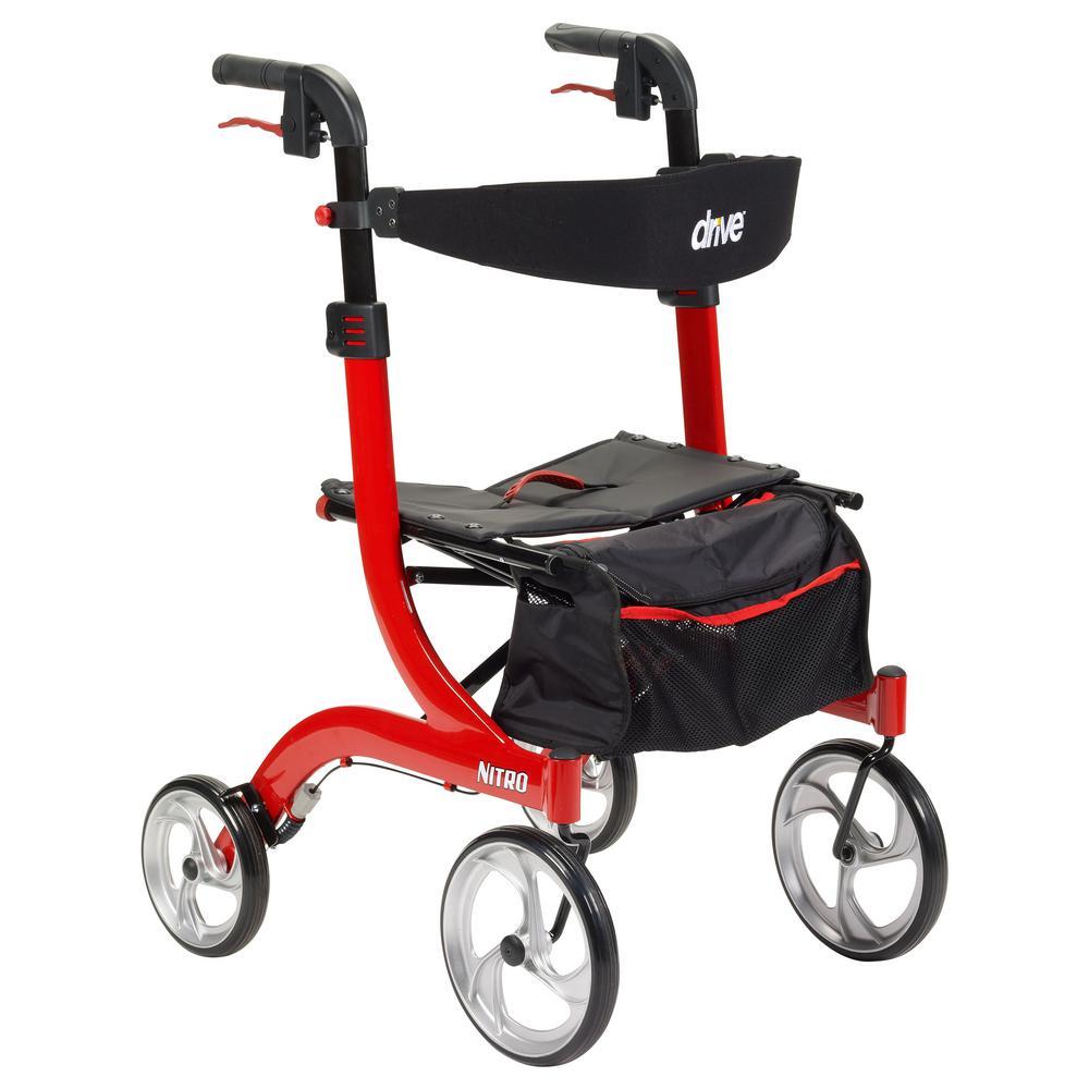 Nitro Euro Style Red 4-Wheel Rollator Walker
