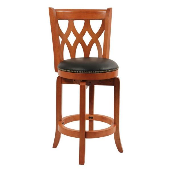 Boraam Cathedral 24 in. Cherry Swivel Cushioned Bar Stool 40224