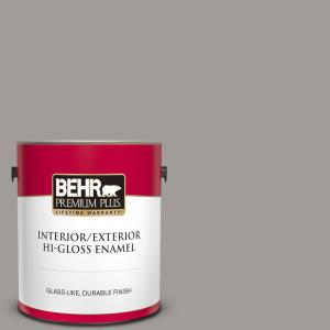 Behr Premium Plus 1 Gal Bnc 17 Casual Gray Hi Gloss Enamel Interior Exterior Paint 840001 The Home Depot