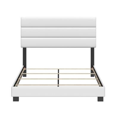 Vivian Faux Leather White Queen Upholstered Platform Bed Frame