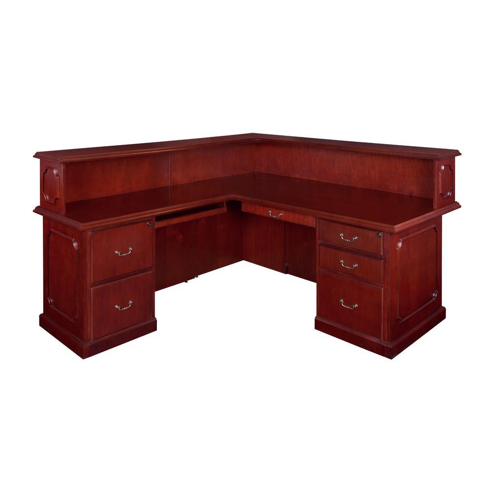 72 in. x 36 in. Prestige Mahogany  Double Pedestal Left Reception Desk