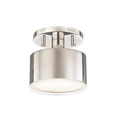 Nora 1-Light Polished Nickel LED Flush Mount with Clear Glass