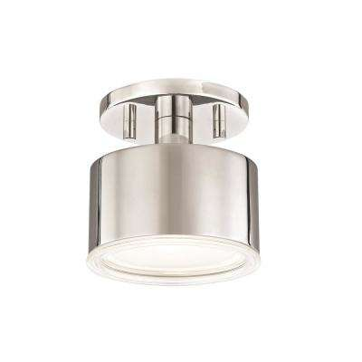 Nora 1-Light Polished Nickel LED Flushmount with Clear Glass