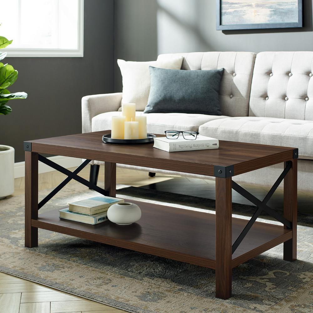40 in. Dark Walnut Medium Rectangle MDF Coffee Table with Shelf