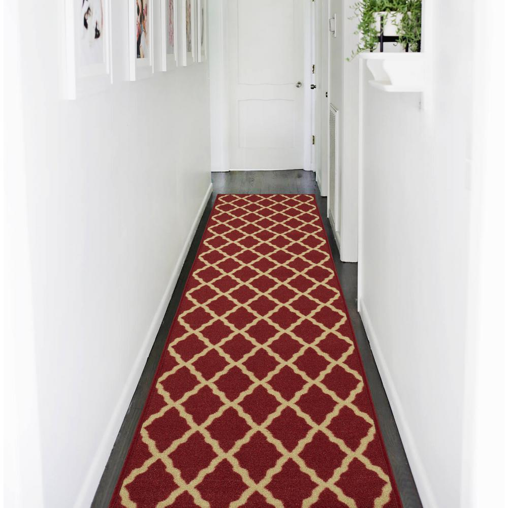 Ottomanson Ottohome Collection Contemporary Moroccan Trellis Design Dark Red 2 ft. x 7 ft. Runner Rug