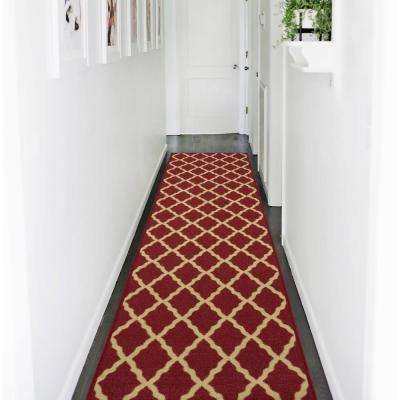 Ottohome Collection Contemporary Moroccan Trellis Design Dark Red 2 ft. x 7 ft. Runner Rug