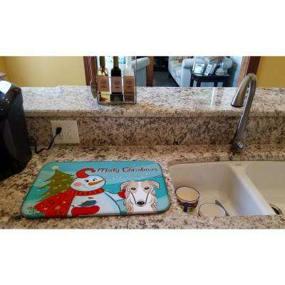 14 in. x 21 in. Multicolor Snowman with Borzoi Dish Drying Mat