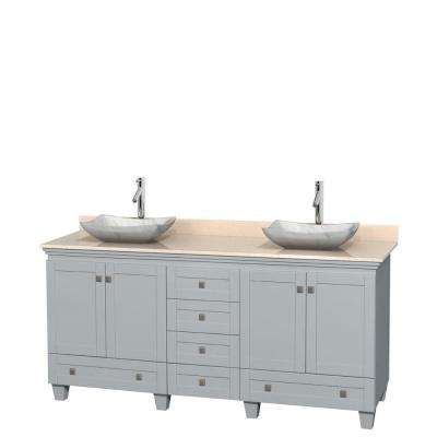 Acclaim 72 in. W x 22 in. D Vanity in Oyster Gray with Marble Vanity Top in Ivory with White Basins