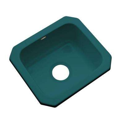 Manchester Undermount Acrylic 16 in. 0-Hole Single Bowl Entertainment Sink in Teal