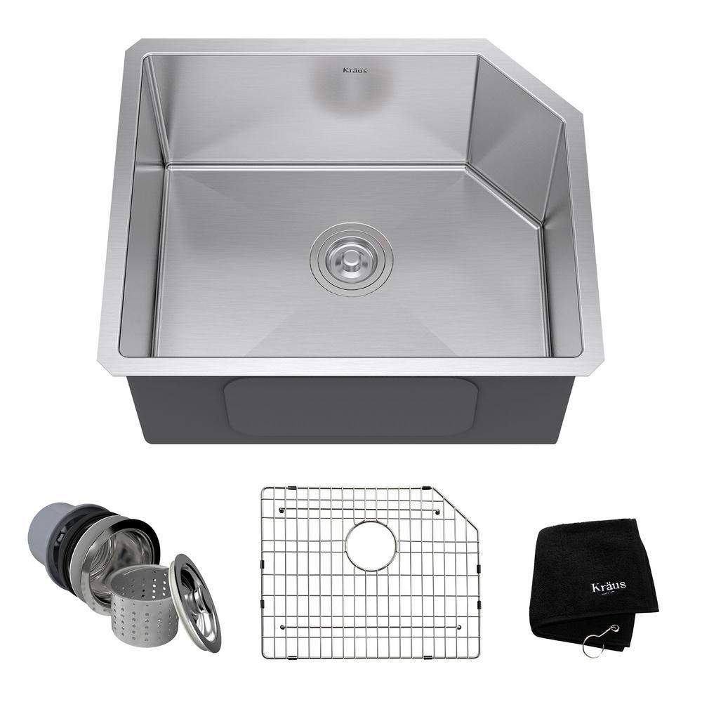 Undermount Stainless Steel 23 in. Single Bowl Kitchen Sink Kit