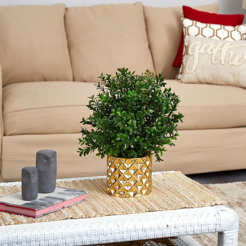 15in. Sweet Grass Artificial Plant Gold Planter (Indoor/Outdoor)