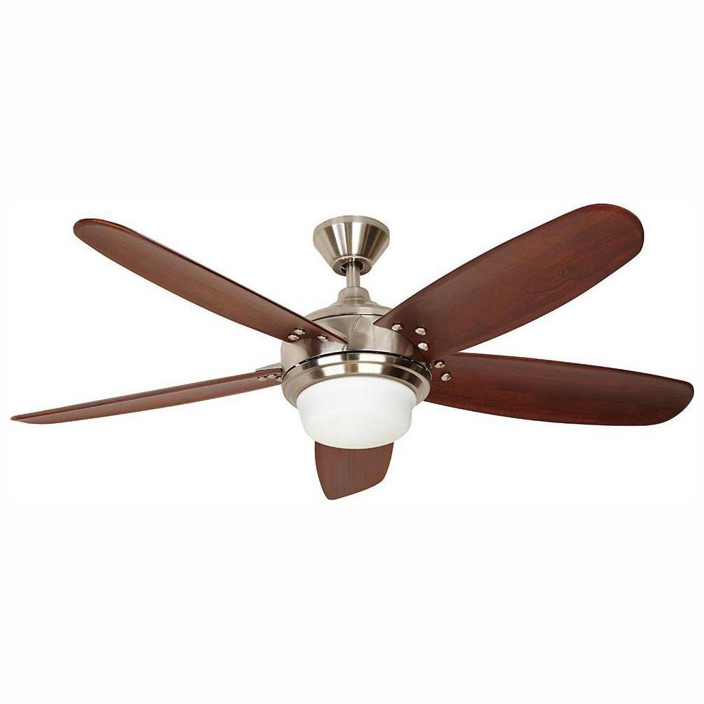Home Decorators Collection Breezmore 56 in. LED Brushed Nickel Ceiling Fan with Light Works with Google Assistant and Alexa