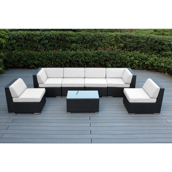Black 7-Piece Wicker Patio Seating Set with Sunbrella Natural Cushions