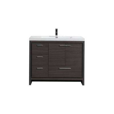 Dolce 42 in. W Bath Vanity in Dark Gray Oak with Reinforced Acrylic Top in White with White Basin and Left Side Drawers