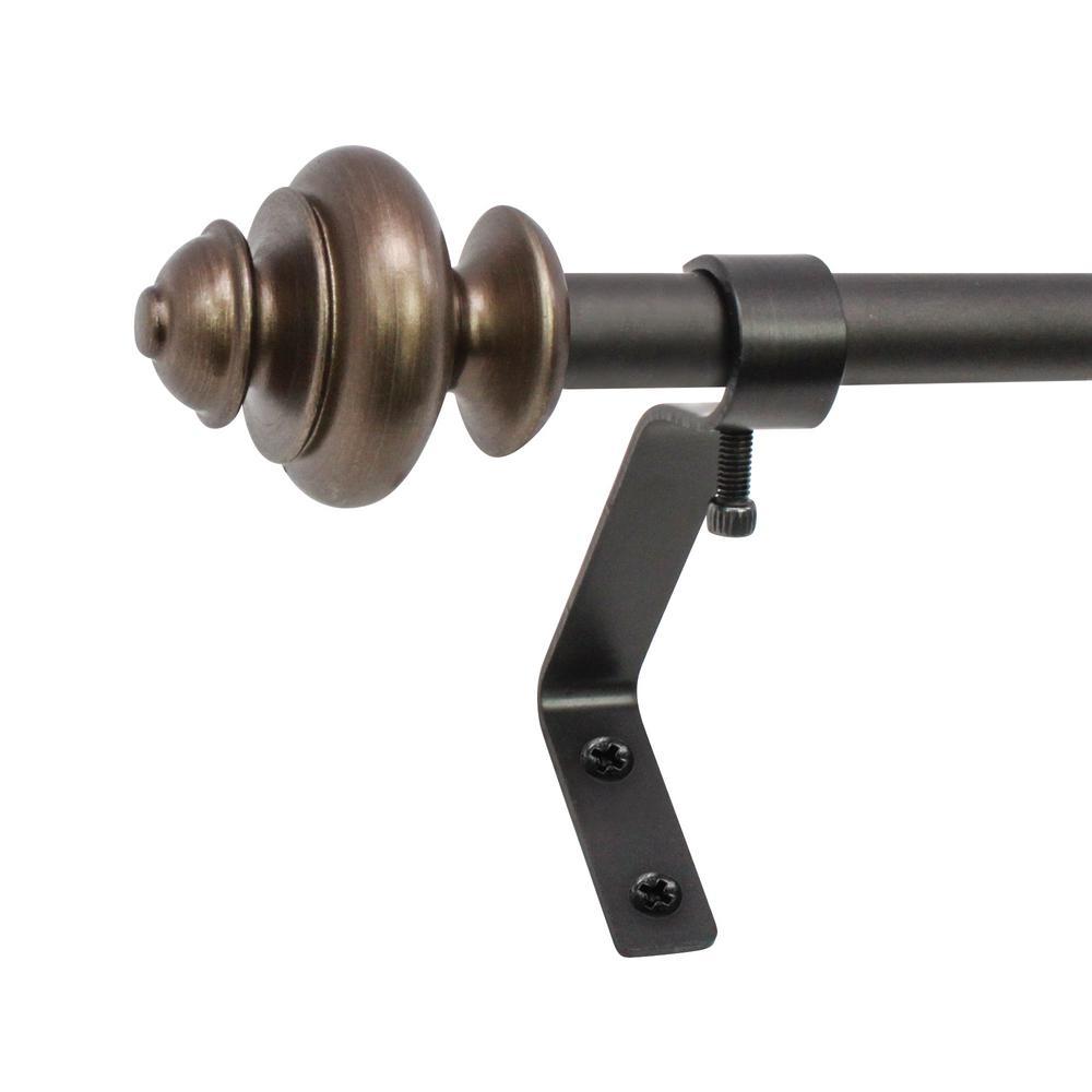 1/2 in. Urn Cafe Telescoping Drapery Rod Set, 26 to in. 48 in. in Brown
