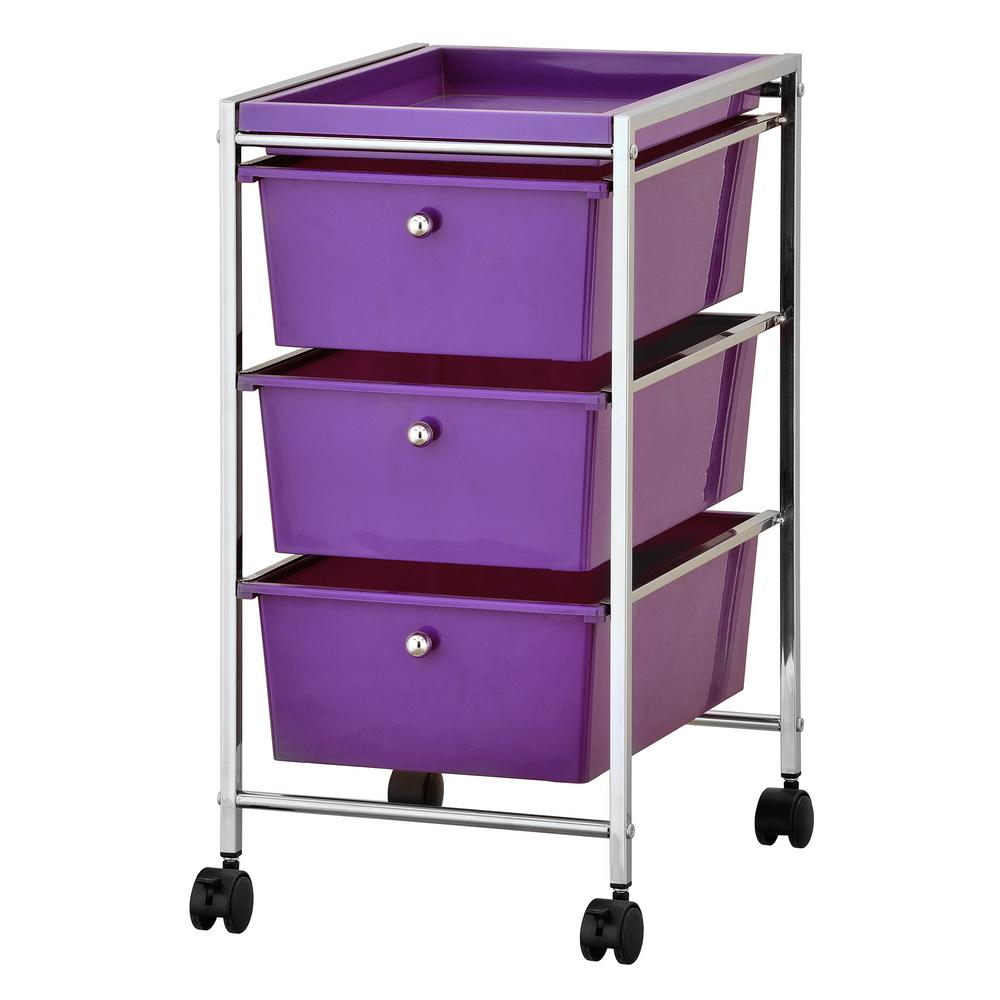 Wayar 3-Shelf Chrome 4-Wheeled 4-Drawer Storage Cart in Purple