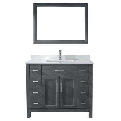 Kelly 42 in. Vanity in French Gray with Solid Surface Marble Vanity Top in Carrara White and Mirror