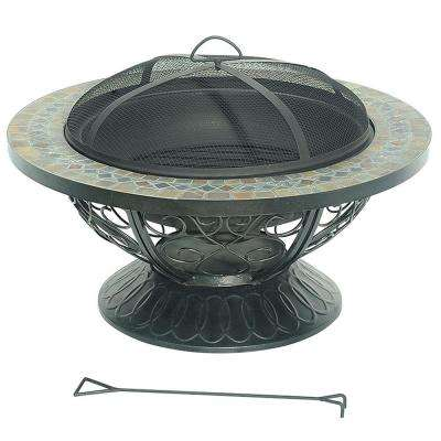 Delia 30 in. Steel Slate Top Fire Pit