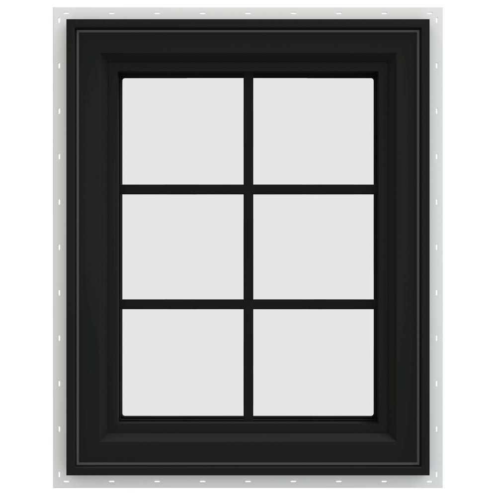 23.5 in. x 35.5 in. V-4500 Series Left-Hand Casement Vinyl Window with Grids - Bronze