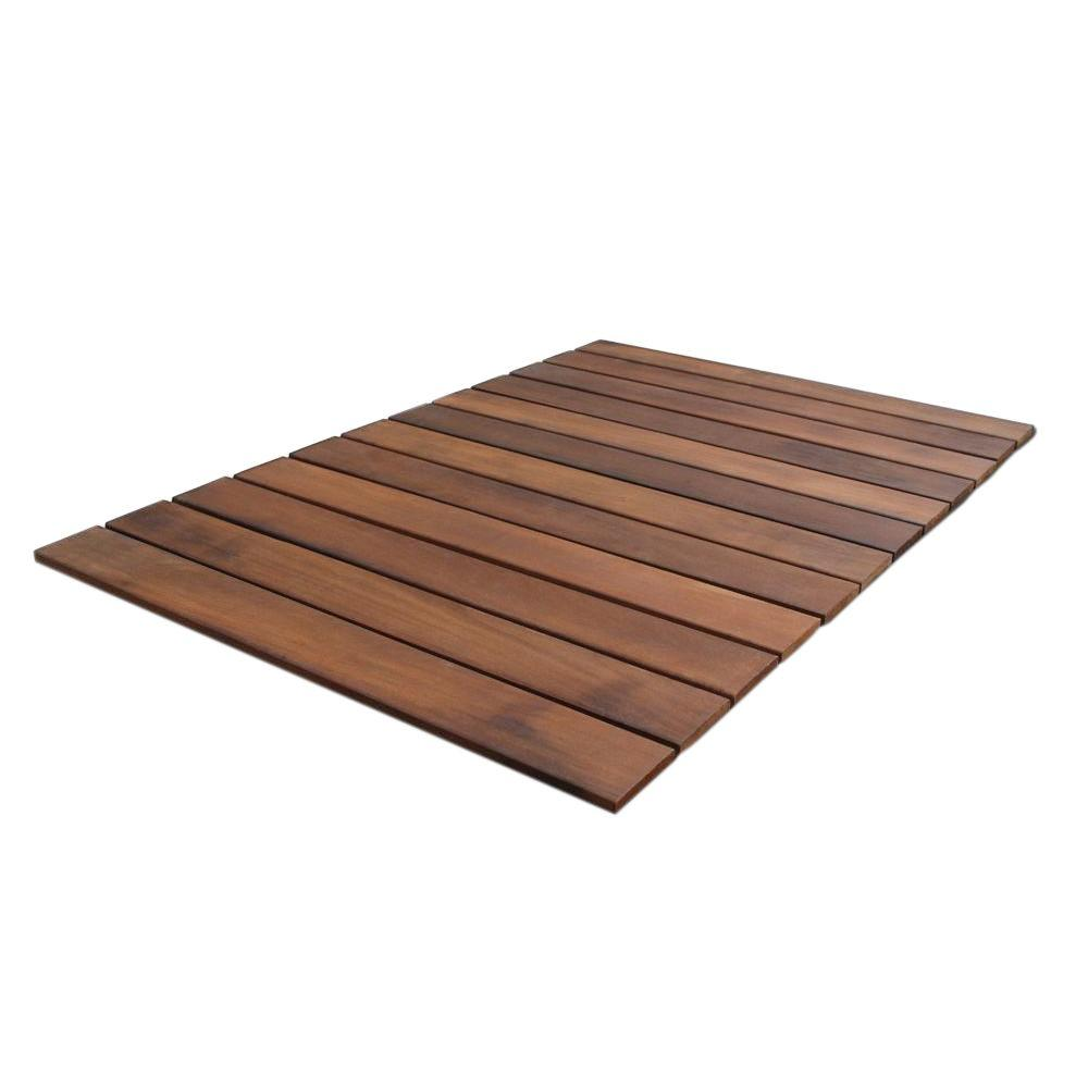 RollFloor Mat 2 ft. x 3 ft. Roll-Out Wood Deck Tile in Brown Color