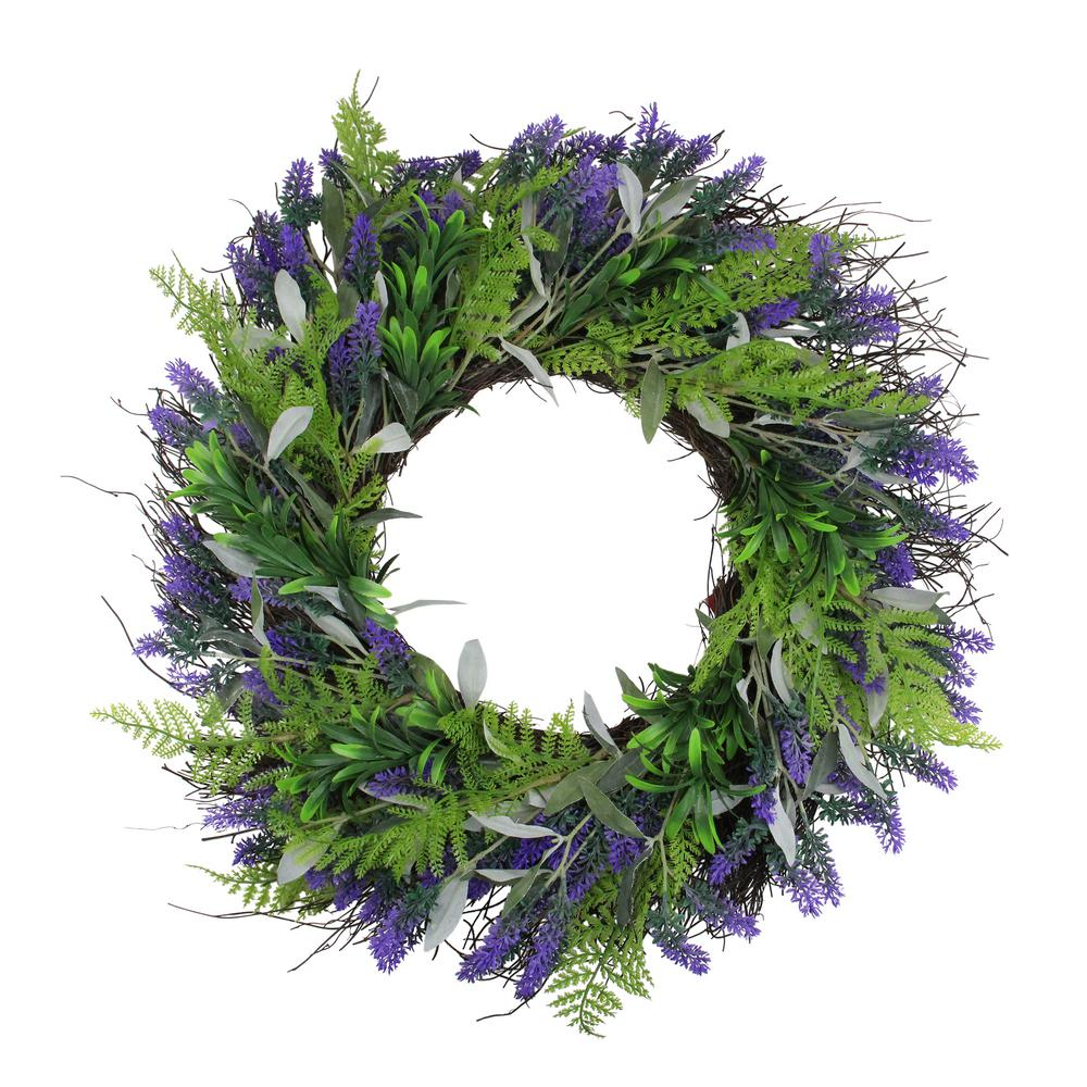 Northlight 24 in. Lavender and Leaves Artificial Spring Wreath Purple and Green