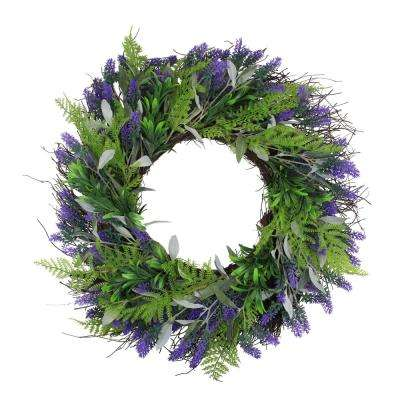 24 in. Lavender and Leaves Artificial Spring Wreath Purple and Green