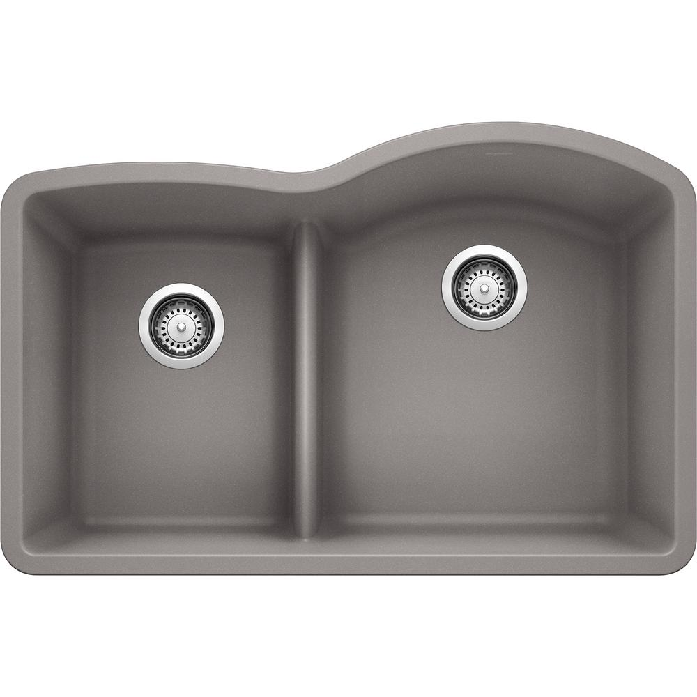 Blanco Diamond Undermount Granite Composite 32 In 40 60 Double Bowl Kitchen Sink With Low Divide In Metallic Gray 441601 The Home Depot