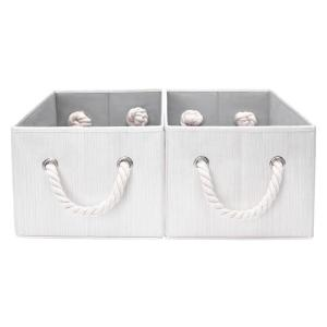 5-Gal. Rectangle Polyester Storage Bin with Cotton Rope Handles in Ivory (Set of 2)