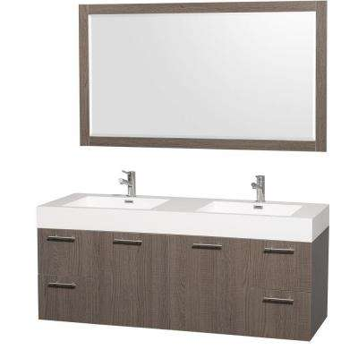 Amare 60 in. Vanity in Grey Oak with Acrylic-Resin Vanity Top in White and Integrated Sink