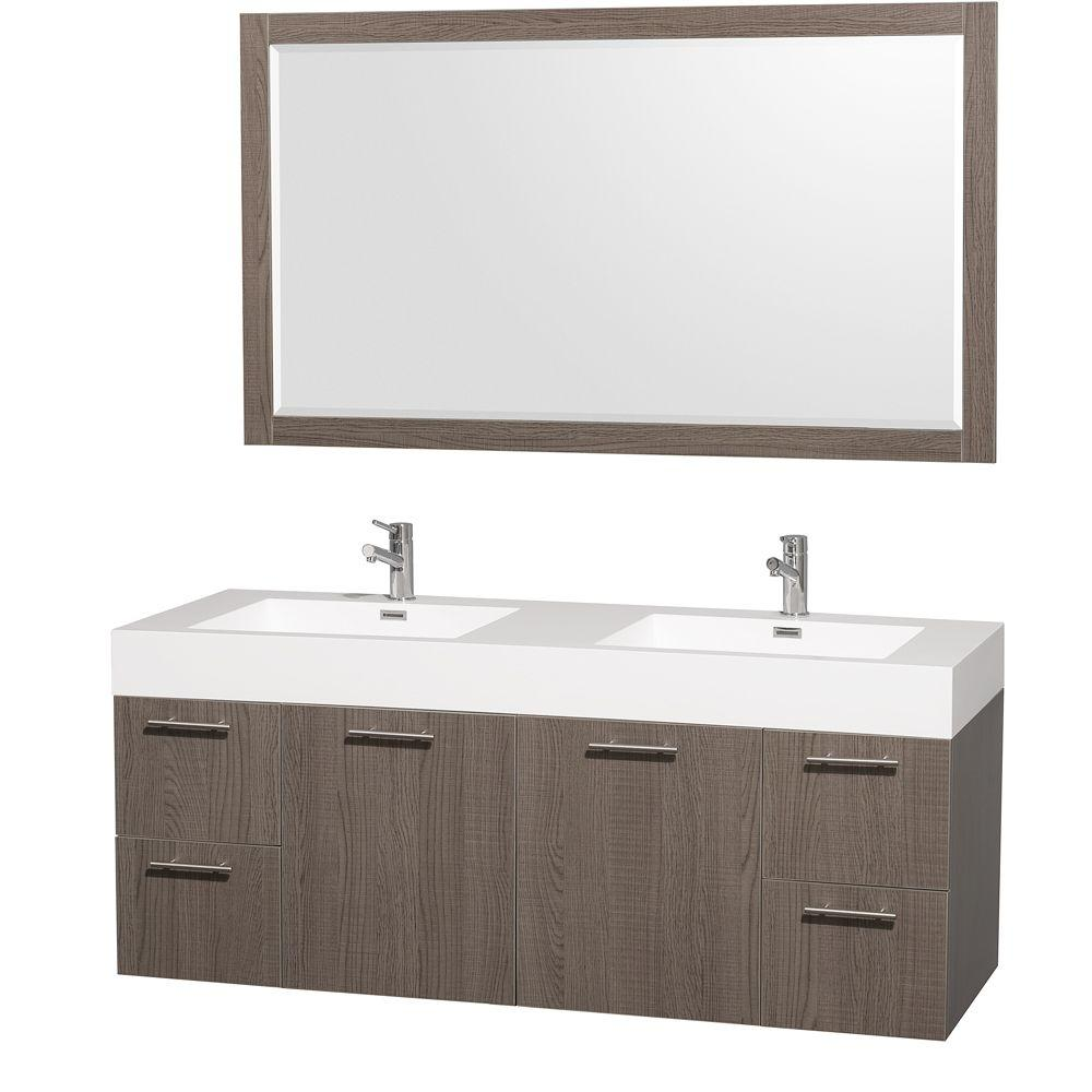 Wyndham collection amare 60 in vanity in grey oak with for Wyndham at home