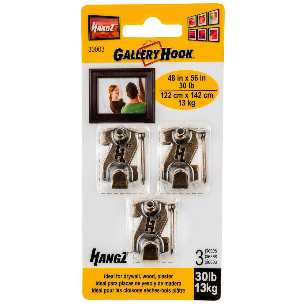 30 lb. Gallery Picture Hooks (3-Pack)