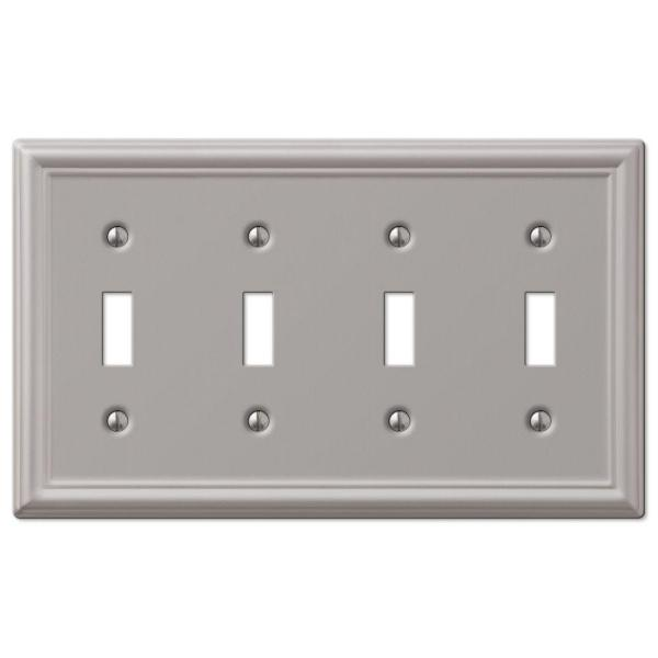 Ascher 4 Gang Toggle Steel Wall Plate - Brushed Nickel