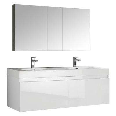 Mezzo 59 in. Vanity in White with Acrylic Vanity Top in White with White Basins and Mirrored Medicine Cabinet