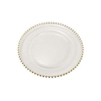 13 in. New Traditional Gold-Beaded Glass Charger Plate