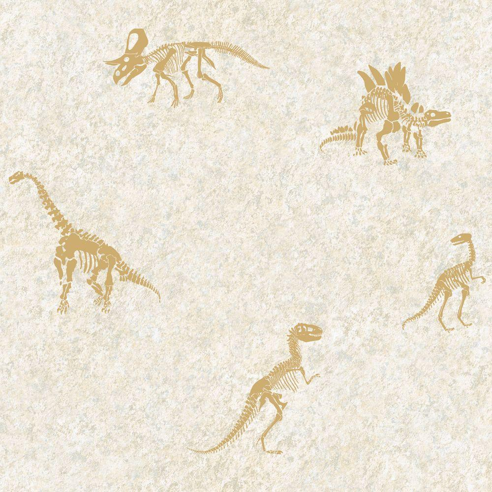 York Wallcoverings 56 sq. ft. Dinosaur Fossil Wallpaper-DISCONTINUED