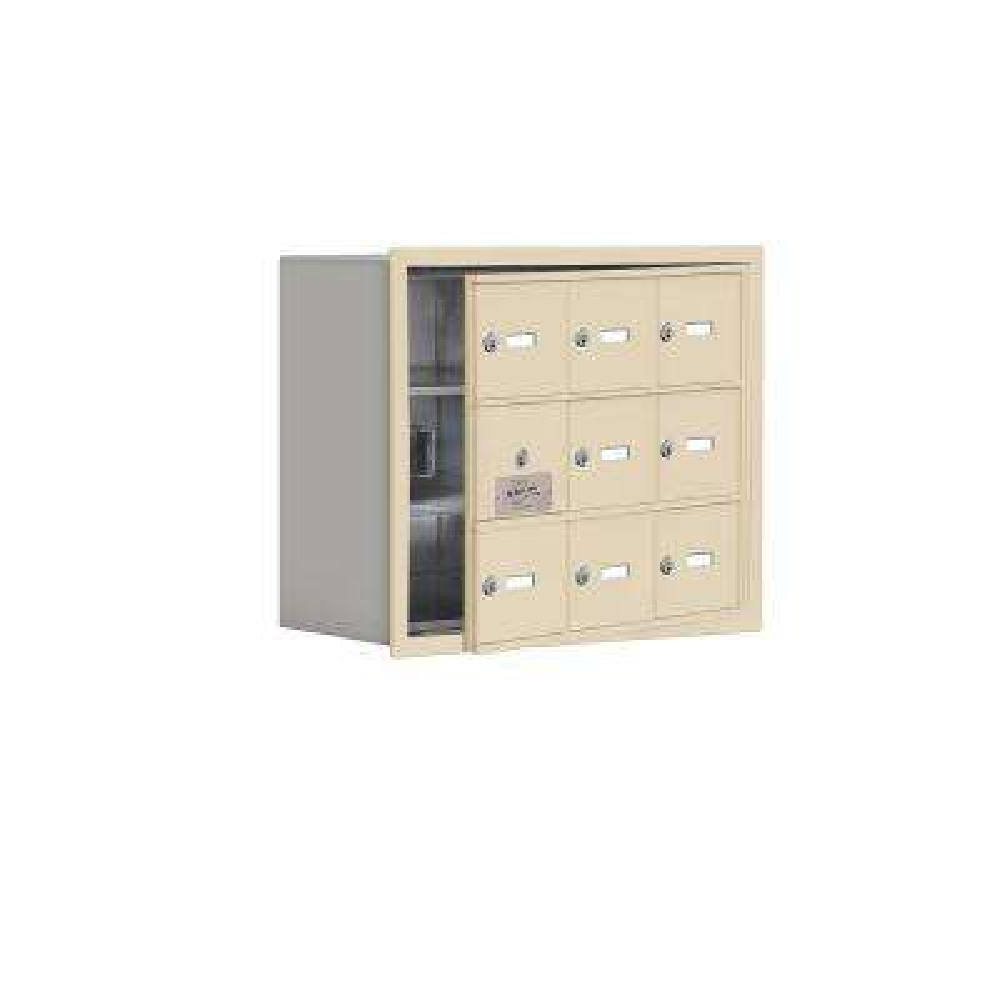 19100 Series 22.75 in. W x 18.75 in. H x 8.75 in. D 8 Doors Cell Phone Locker Recess Mount Keyed Lock in Sandstone