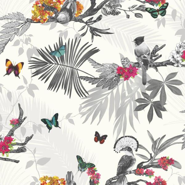 Arthouse Mystical Forest White Multi Un-Pasted Wallpaper 664802