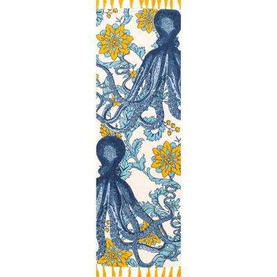 Thomas Paul Flat Weave Cotton Octopus Multi 3 ft. x 8 ft. Runner Rug