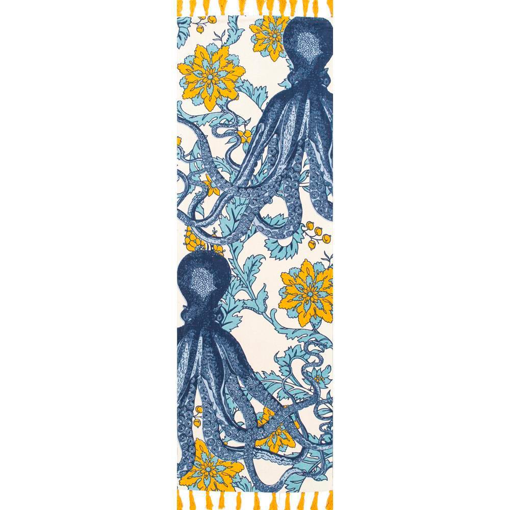 Thomas Paul Flatweave Cotton Octopus Multi 2 ft. 8 in. x 10 ft. Runner Rug