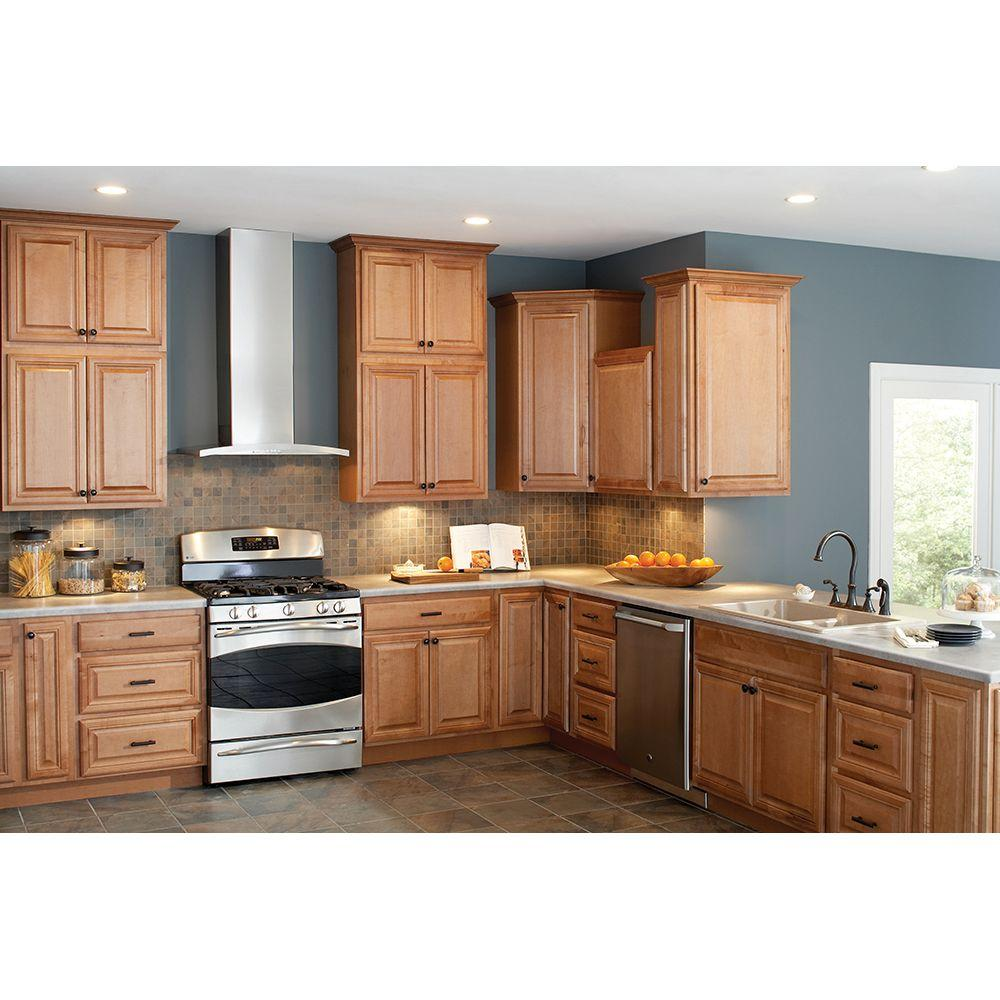 Hampton Bay Cambria Assembled 28 5x34 5x16 5 In Lazy Susan Corner Base Kitchen Cabinet In Harvest