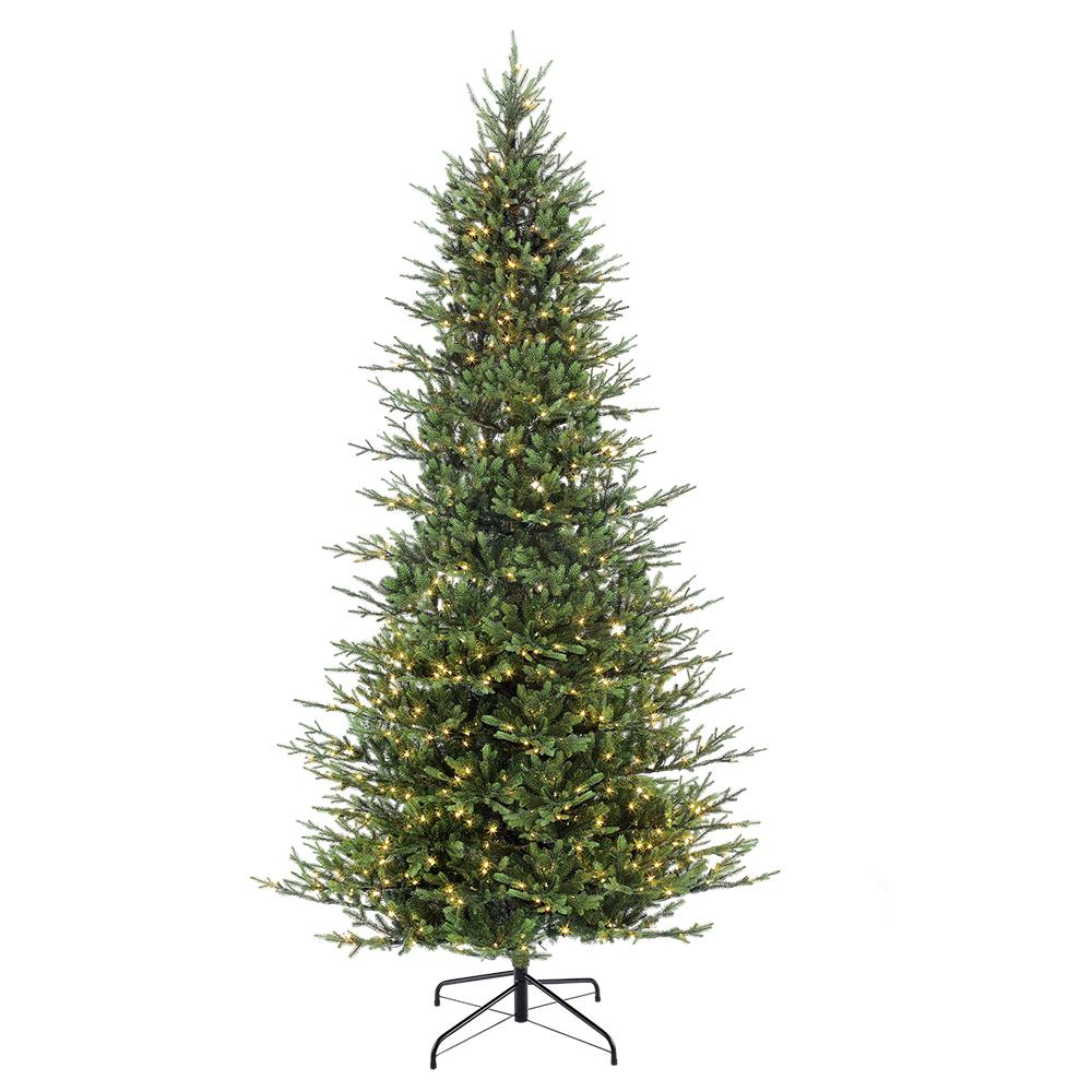 Pre Lit 9 Ft Christmas Tree: Puleo International 9 Ft. Pre-Lit Slim Balsam Fir