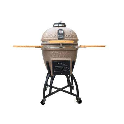 Kamado Professional Ceramic Charcoal Grill in Taupe with Grill Cover