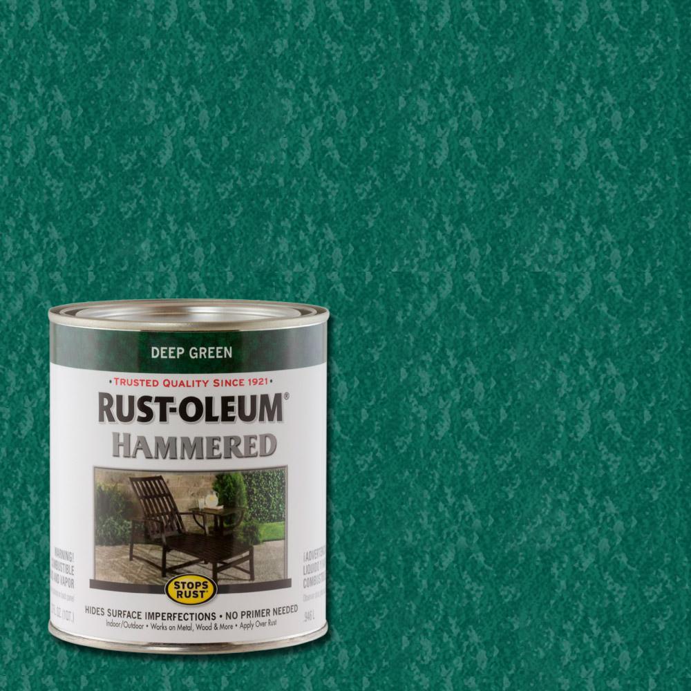 Rust-Oleum Stops Rust 1 qt. Deep Green Hammered Rust Preventive Paint (2-Pack)